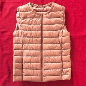 Uniqlo light pink down vest